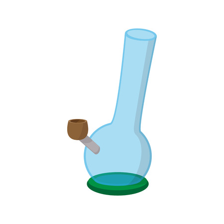 bong: Bong for smoking icon in cartoon style on a white background Illustration