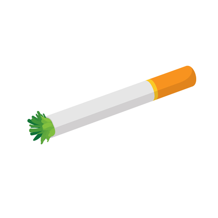 reefer: Lit reefer icon in cartoon style on a white background Illustration