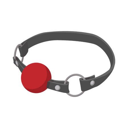 Red ball gag with a belticon icon in cartoon style on a white background Çizim