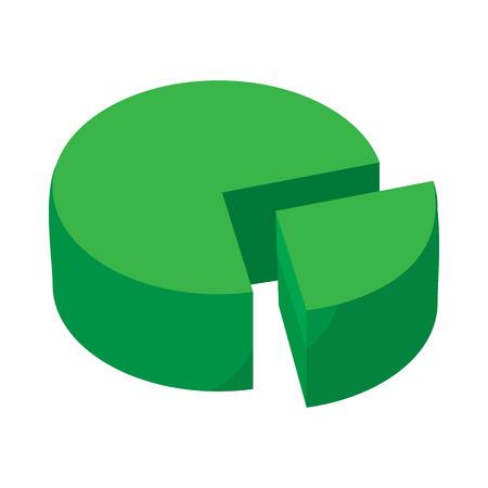 Pie chart icon w stylu kreskówki na białym tle