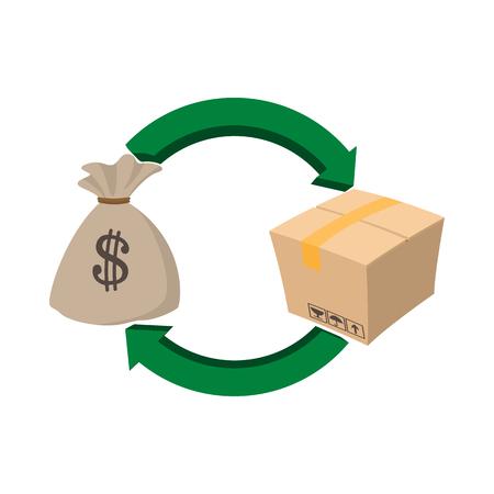 letra de cambio: Bolso del dinero y el icono del cuadro de estilo de dibujos animados sobre un fondo blanco