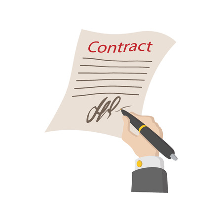 business contract: Business contract with signature icon in cartoon style on a white background