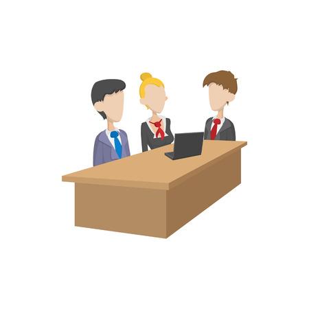 negociacion: icono de las negociaciones comerciales en el estilo de dibujos animados sobre un fondo blanco