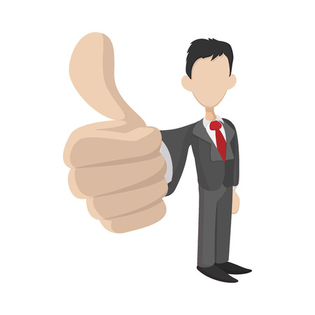 Businessman holding his thumbs up icon in cartoon style on a white background