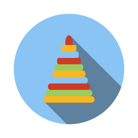 human pyramid: ?hildren ?olorful pyramid icon in flat style on a white background Illustration