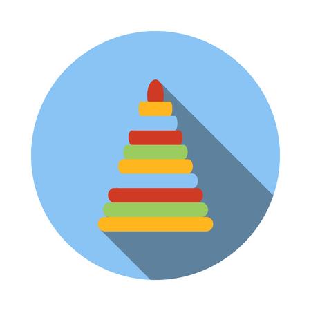 human pyramid: os niños? icon olorful en estilo plano sobre un fondo blanco Vectores