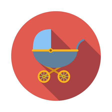 perambulator: Blue baby carriage icon in flat style on a white background