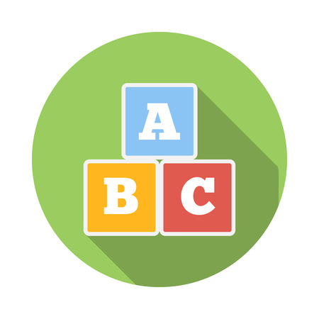literate: Cubes with letters A,B,C icon in flat style on a white background