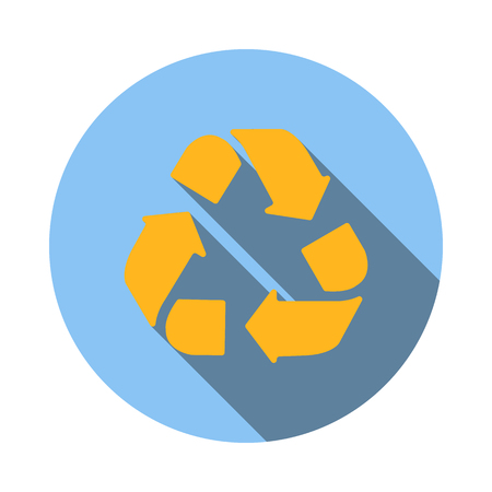 circular arrows: Yellow circular arrows icon in flat style on a white background