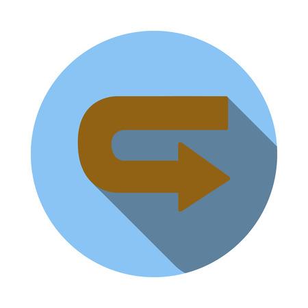 Retour icône flèche dans le style à plat sur un fond blanc Illustration