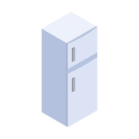 nevera: icono refrigerador en estilo isométrico 3d en el fondo blanco