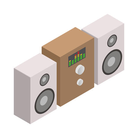 sound system: Music speakers and sound system icon in isometric 3d style on white background Illustration