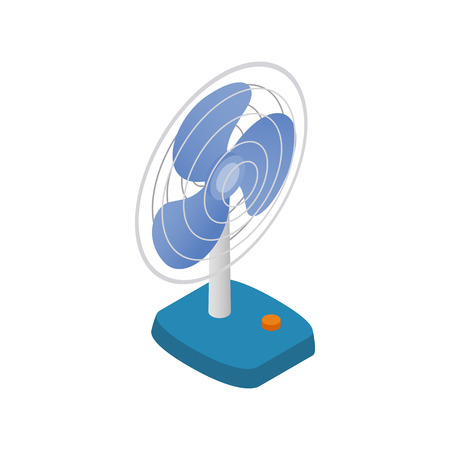 fan: Fan icon in isometric 3d style isolated on white background