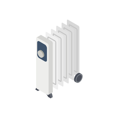 oil heater: Electric oil heater icon in isometric 3d style on white background Illustration