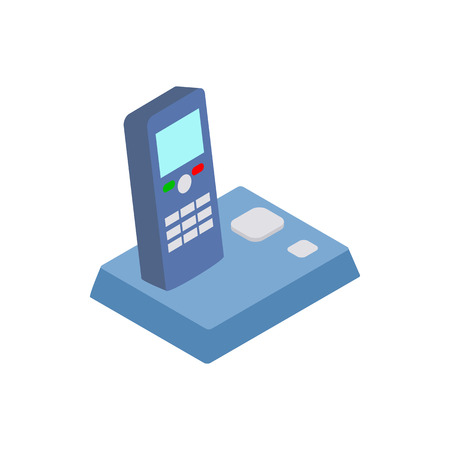 ip: Wireless telephone icon in isometric 3d style isolated on white background