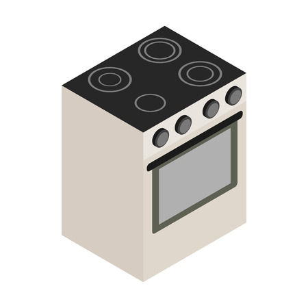 electric stove: Electric stove icon in isometric 3d style on white background