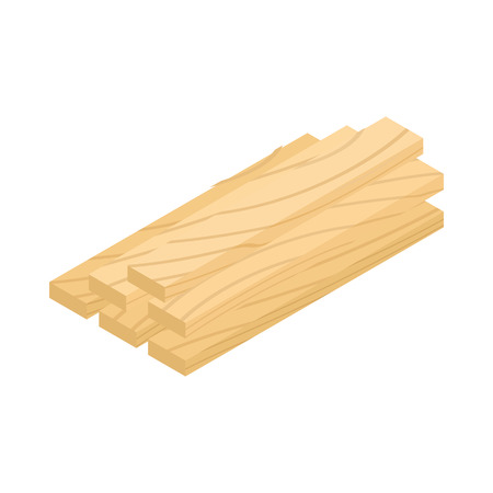 wood planks: Wood planks icon in isometric 3d style isolated on white background Illustration