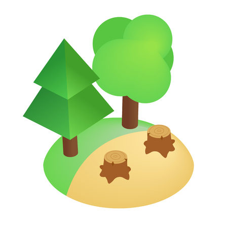 land pollution: Deforestation icon in isometric 3d style isolated on white background