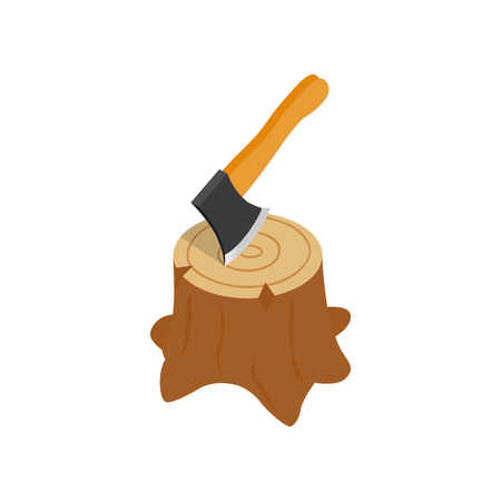 axe: Axe in stump icon in isometric 3d style isolated on white background