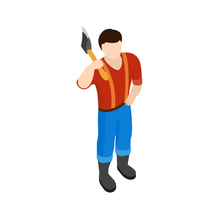 cutthroat: Lumberjack icon in isometric 3d style isolated on white background Illustration