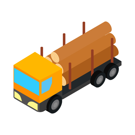 logging: Logging truck icon in isometric 3d style isolated on white background