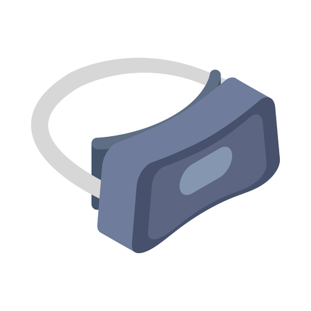gaming: Virtual reality gaming and entertainment headset icon in isometric 3d style on white background Illustration