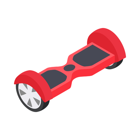 underneath: Dual wheel self balancing electric skateboard icon in isometric 3d style on a white background