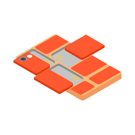 Modular smartphone icon in isometric 3d style on a white background Illustration