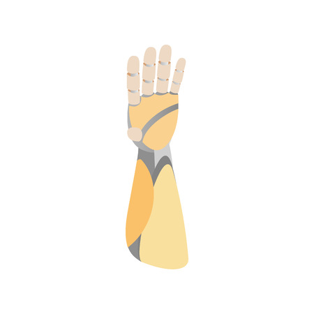 A robotic mechanical arm looks like a human hand icon in isometric 3d style on a white background Vector Illustration