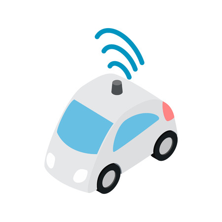 wi fi icon: Car wi fi icon in isometric 3d style on a white background Illustration