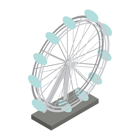 london night: Ferris wheel icon in isometric 3d style on a white background Illustration