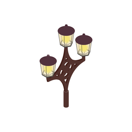 lamp post: An ornate lamp post icon in isometric 3d style on a white background Illustration