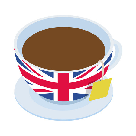 english culture: British tea  cup icon in isometric 3d style on a white background Illustration