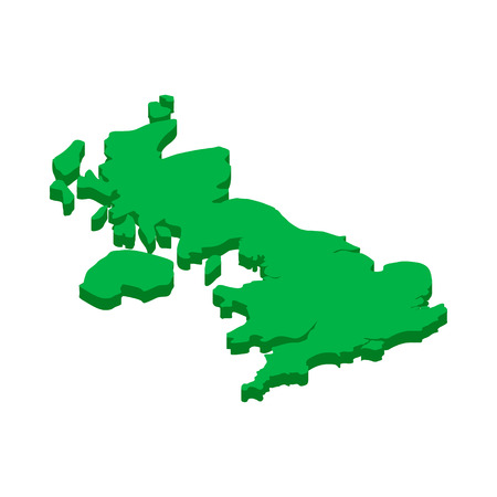 britain: Map of United Kingdom icon in isometric 3d style on a white background