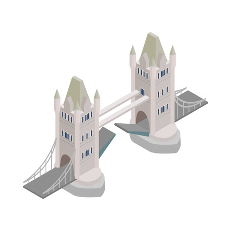 iconic architecture: Tower Bridge in London icon in isometric 3d style on a white background Illustration