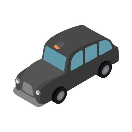 black cab: London black cab icon in isometric 3d style on a white background Illustration