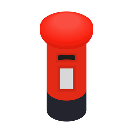 pillar box: London red mail box icon in isometric 3d style on a white background
