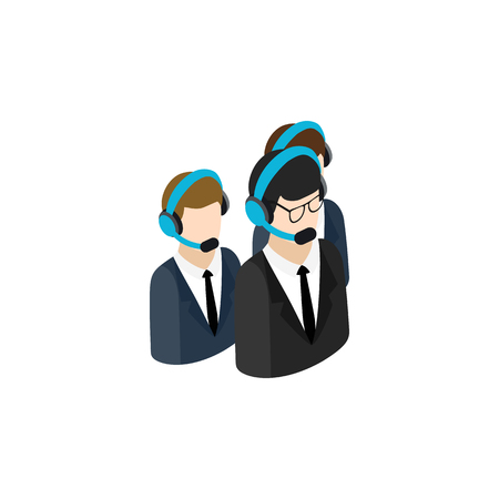handsfree: Call center operators group with headsets icon in isometric 3d style isolated on white background
