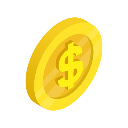 dollars: Gold coin with dollar sign icon in isometric 3d style on a white background