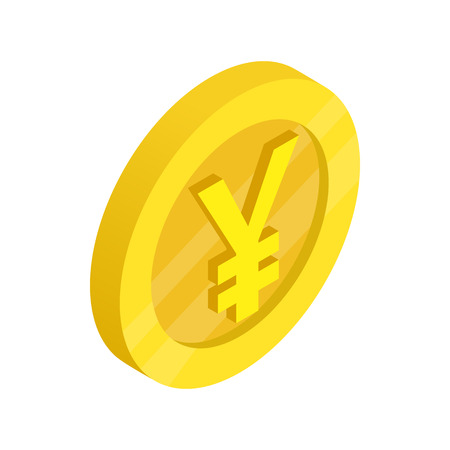yen sign: Gold coin with yen sign icon in isometric 3d style on a white background