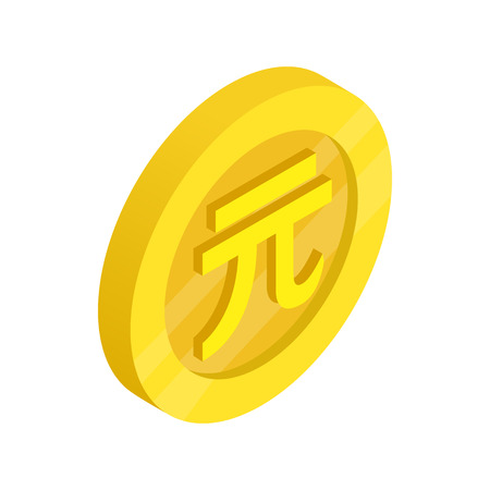Gold Coin With Taiwan Dollar Sign Icon In Isometric 3d Style