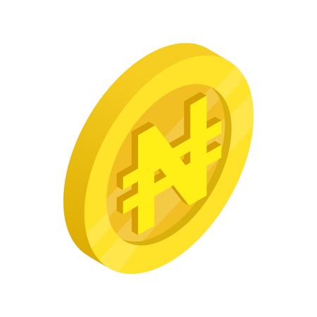 dollars: Gold coin with nairas sign icon in isometric 3d style on a white background