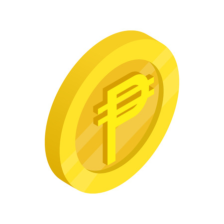 peso: Gold coin with peso sign icon in isometric 3d style on a white background Illustration