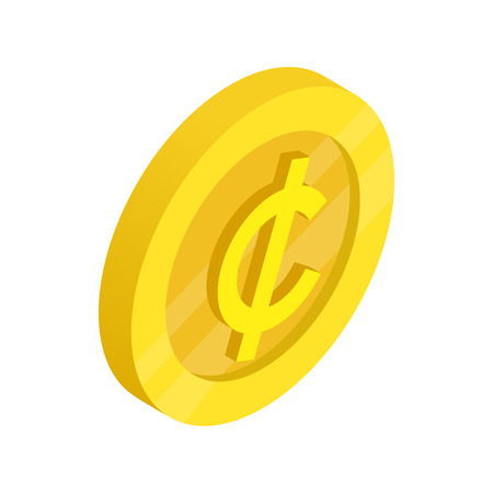 cent: Gold coin with cent sign icon in isometric 3d style on a white background