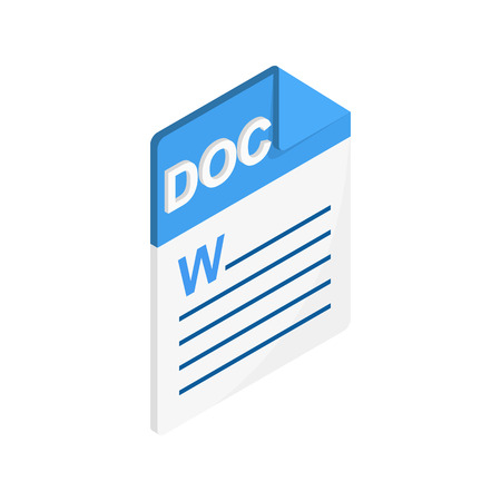 DOC icon in isometric 3d style on a white background