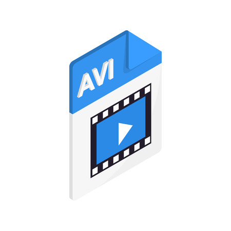 avi: AVI icon in isometric 3d style on a white background