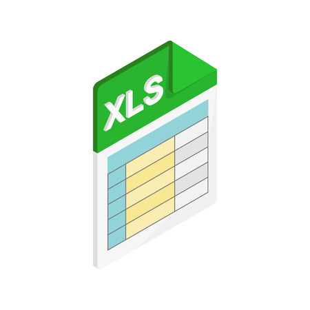 XLS icon in isometric 3d style on a white background Vectores