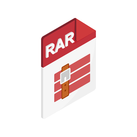 rar: RAR file icon in isometric 3d style on a white background