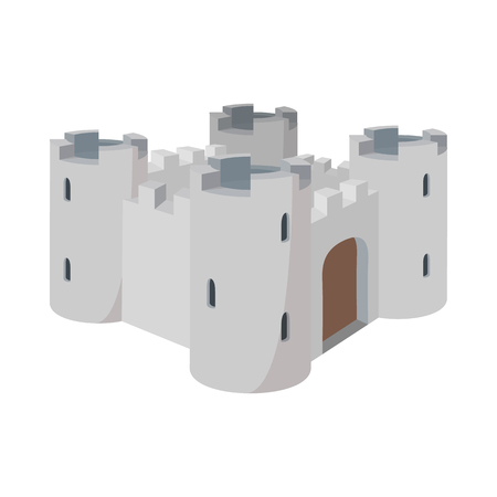 elizabeth tower: Medieval Windsor Castle icon in cartoon style on a white background Illustration