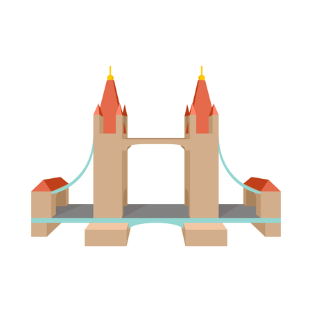 iconic architecture: Tower Bridge in London icon in cartoon style on a white background